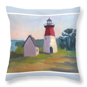 Nauset Lighthouse Cape Cod Throw Pillow by Suzanne Elliott