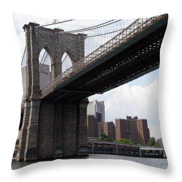 New York Bridges 1- Brooklyn Bridge Throw Pillow by Ausra Huntington nee Paulauskaite