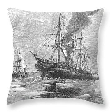New York Harbor: Ice, 1881 Throw Pillow by Granger