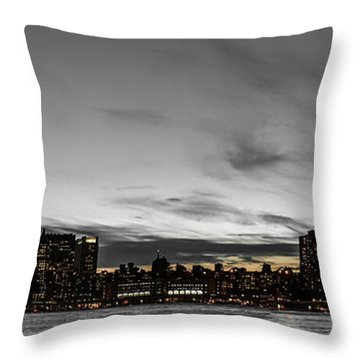 New Yorks Skyline At Night Colorkey Throw Pillow by Hannes Cmarits