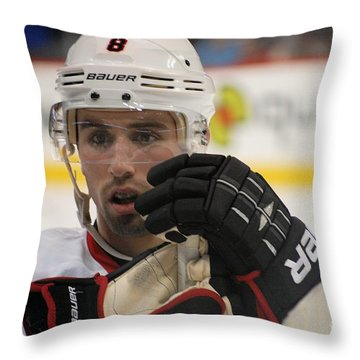 Nick Leddy - Chicago Blackhawks Throw Pillow by Melissa Goodrich