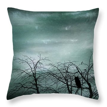 Night Owl Throw Pillow by Georgia Fowler