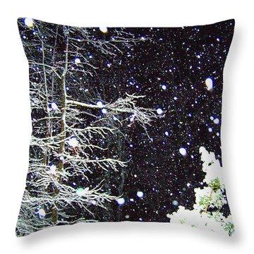 Night Snow Throw Pillow by Sandi OReilly