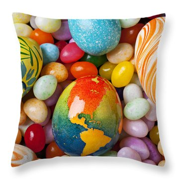 North America Easter Egg Throw Pillow by Garry Gay