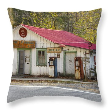 North Carolina Country Store And Gas Station Throw Pillow by Bill Swindaman