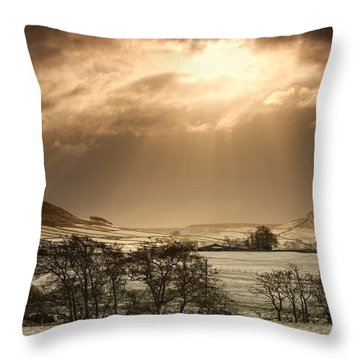 North Yorkshire, England Sun Shining Throw Pillow by John Short