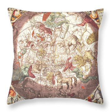 Northern Boreal Hemisphere From The Celestial Atlas Throw Pillow by Pieter Schenk