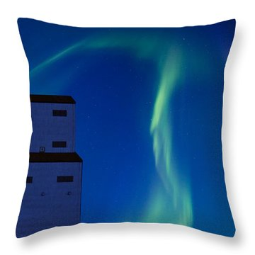 Northern Lights And Grain Elevator Throw Pillow by Mark Duffy