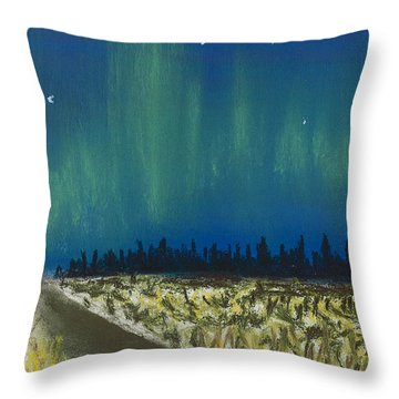 Northern Lights Road Trip Throw Pillow by Jackie Novak