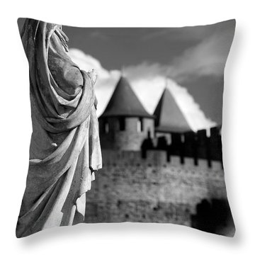 Notre Dame Carcassonne Throw Pillow by Robert Lacy