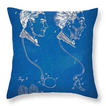 Novelty Wig Patent Artwork Throw Pillow by Nikki Marie Smith