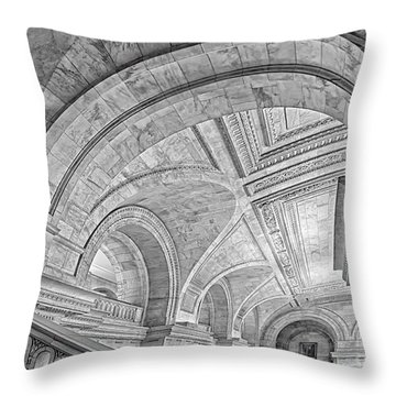 Nyc Public Library Throw Pillow by Susan Candelario