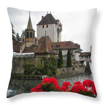 Oberhofen Castle Switzerland Throw Pillow by Marilyn Dunlap