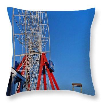 Oc Winter Ferris Wheel Throw Pillow by Skip Willits