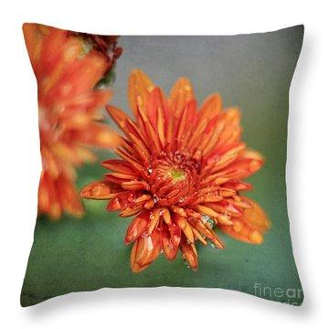 October Mums Throw Pillow by Darren Fisher