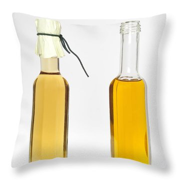 Oil And Vinegar Bottles Throw Pillow by Matthias Hauser