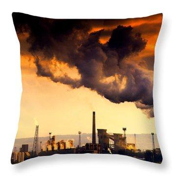 Oil Refinery Throw Pillow by John Short