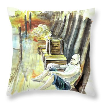 Old And Lonely In Portugal 08 Throw Pillow by Miki De Goodaboom