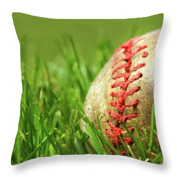Old Baseball Glove On The Grass Throw Pillow by Sandra Cunningham