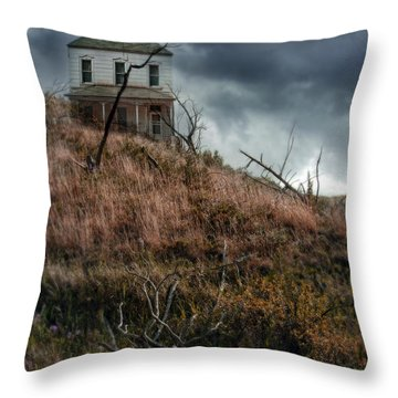 Old Farmhouse With Stormy Sky Throw Pillow by Jill Battaglia