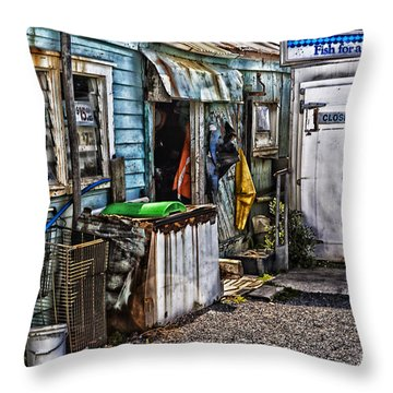 Old Fishing Store At Rawehe Throw Pillow by Avalon Fine Art Photography