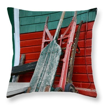 Old Hand Trucks Throw Pillow by Paul Ward