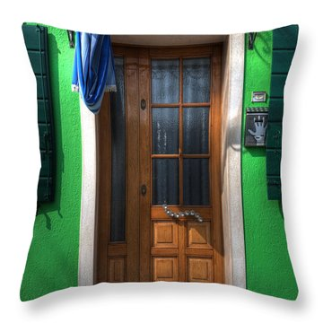 Old Italian Door Throw Pillow by Joana Kruse