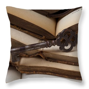 Old Key On Books Throw Pillow by Garry Gay