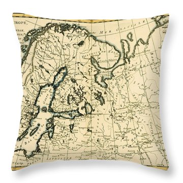 Old Map Of Northern Europe Throw Pillow by Guillaume Raynal