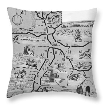 Old Map Of Utah Throw Pillow by Juls Adams