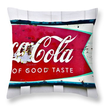 Old Metal Coke Sign Throw Pillow by Susan Leggett