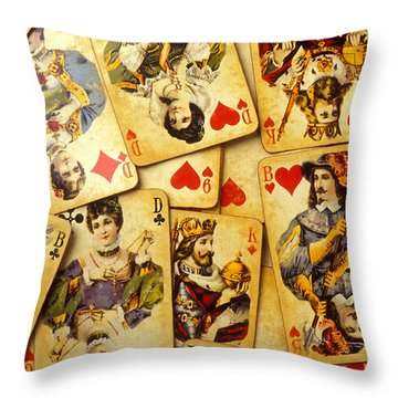 Old Playing Cards Throw Pillow by Garry Gay