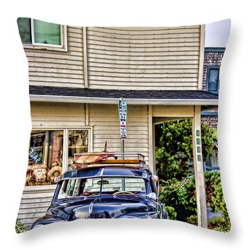 Old Plymouth And Surfboard Throw Pillow by Carol Leigh