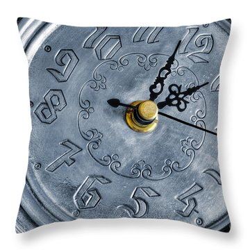 Old Silver Clock Throw Pillow by Carlos Caetano