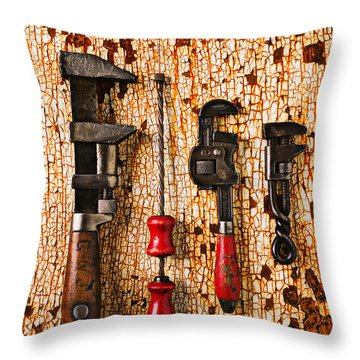 Old Tools On Rusty Counter  Throw Pillow by Garry Gay