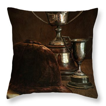Old Trophies With Equestrian Riding Hat Throw Pillow by Sandra Cunningham