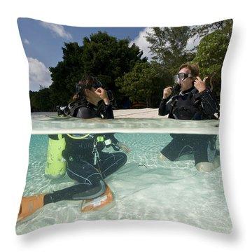 Open Water Student Diver, Mataking Throw Pillow by Mathieu Meur