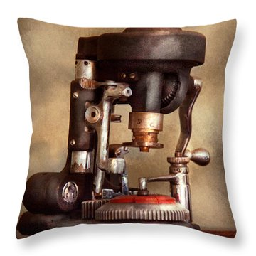 Optometry - Lens Cutting Machine Throw Pillow by Mike Savad