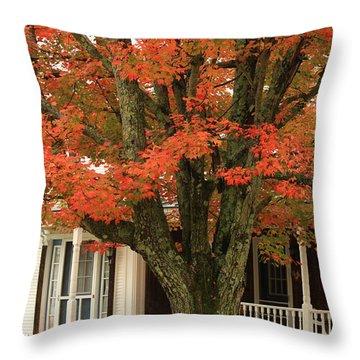 Orange Leaves And Pumpkins Throw Pillow by Deborah Benoit