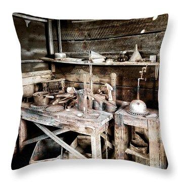 Ore Assay Shop Work Bench - Molson Ghost Town Throw Pillow by Daniel Hagerman