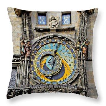 Orloj - Prague Astronomical Clock Throw Pillow by Christine Till