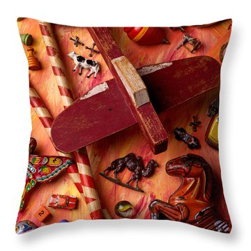 Our Old Toys Throw Pillow by Garry Gay