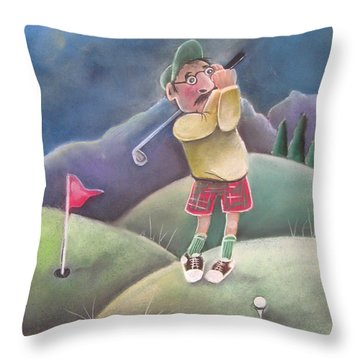 Out On The Course Throw Pillow by Caroline Peacock