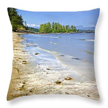 Pacific Ocean Coast On Vancouver Island Throw Pillow by Elena Elisseeva