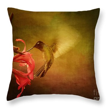Painterly Hummingbird #2 Throw Pillow by Anne Rodkin