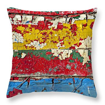 Painting Peeling Wall Throw Pillow by Garry Gay