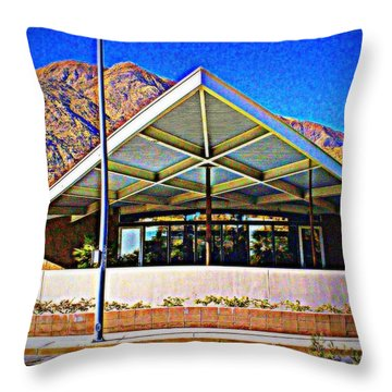 Palm Springs Visitor Center Tramway Gas Station Throw Pillow by Randall Weidner