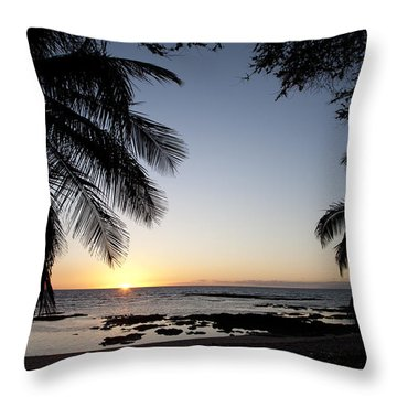 Palm Sunset Throw Pillow by Peter French