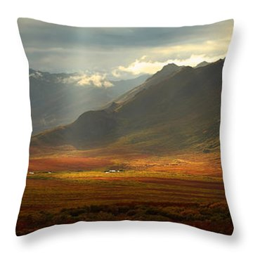 Panoramic Image Of The Cloudy Range Throw Pillow by Robert Postma