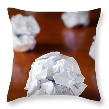 Paper Balls Throw Pillow by Carlos Caetano